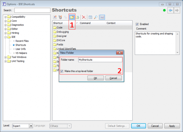 DXCore Creating shortcut to refactoring