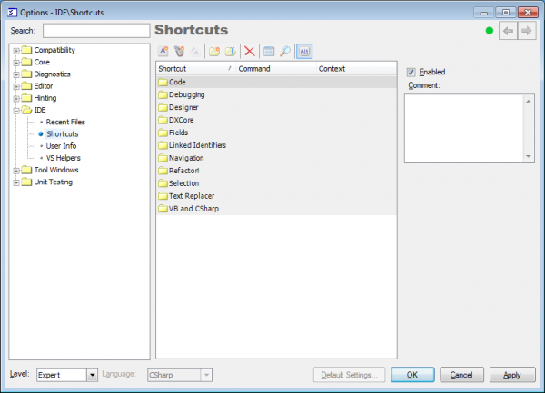 IDETools Shortcuts options page