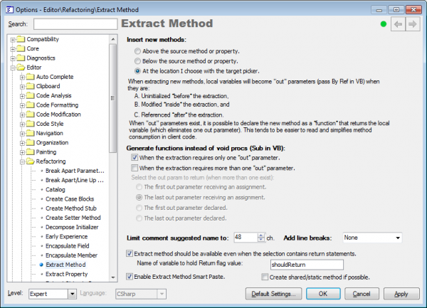 Refactor! Extract Method options page