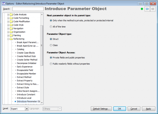 Refactor! Introduce Parameter Object options page