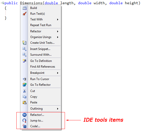 DXCore Visual Studio Context Menu items