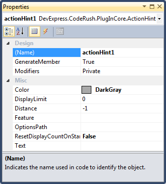 DXCore action hint properties