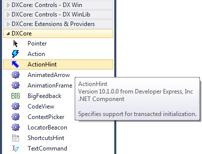 DXCore action hint Toolbox