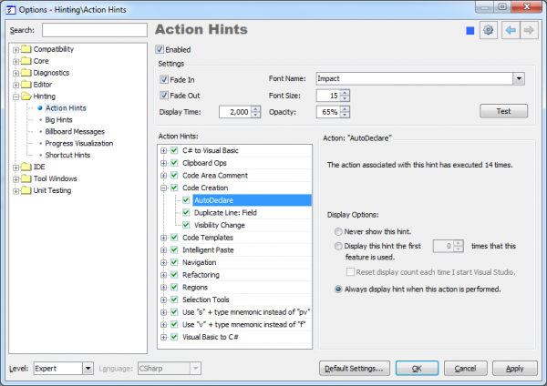 DXCore Action hints options page